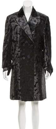 Prada Velvet-Accented Knee-Length Coat w/ Tags