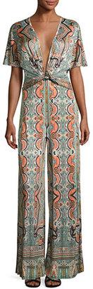 Etro Paisley Deep-V Wide-Leg Jumpsuit, Blue/Orange/Black $1,865 thestylecure.com
