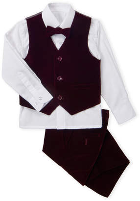 Isaac Mizrahi Toddler Boys) 4-Piece Dark Red Velvet Vest & Suit Pants Set
