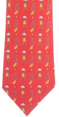 Hermes Ladder & Animal Print Silk Tie