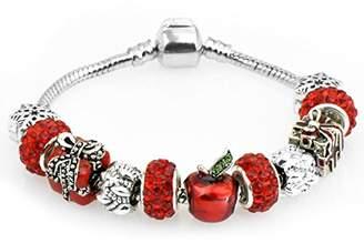 Murano zgshnfgk Silver Charm Bracelet Heart Pendant Cherry Blossom Charm Pink Glass Bead Friendship Bracelet(18-)