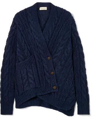 By Malene Birger Talanie Asymmetric Cable-knit Cardigan - Navy