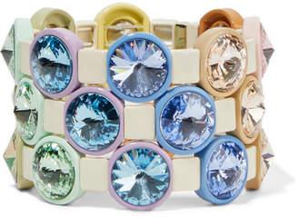 Roxanne Assoulin - Rainbow Lite Set Of Three Enamel And Crystal Bracelets - Blue