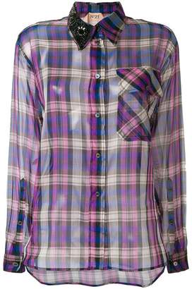 No.21 plaid sheer fitted shirt