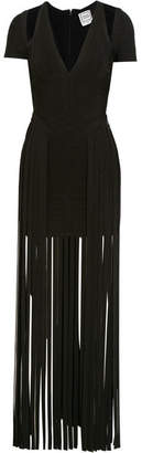 Cutout Fringed Bandage Maxi Dress - Black