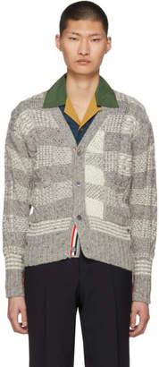 Thom Browne Grey Plaid Classic V-Neck Cardigan
