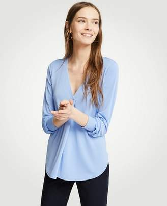 Ann Taylor V-Neck Pleat Front Top