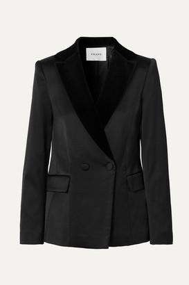 Frame Velvet-trimmed Satin Blazer - Black