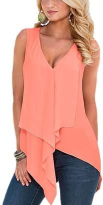 Suvotimo Women Summer Casual V Neck Sleeveless Beachwear Chiffon Tank Tops L
