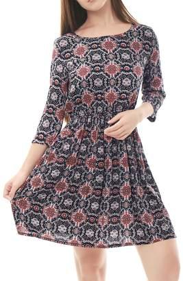 Allegra K Floral Prints 3/4 Sleeve Elastic Waist A Line Dress XS