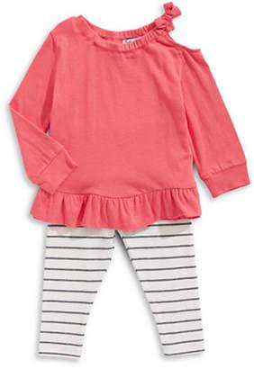 Splendid Ruffle Shirt and Striped Pants Two Piece Set