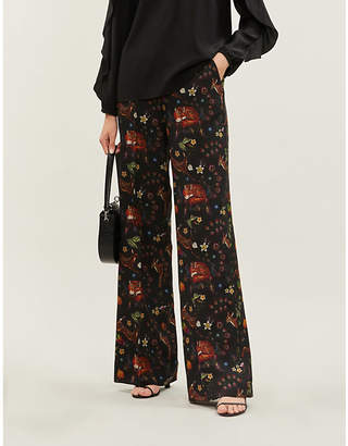 Etro Palazzo graphic-pattern wool and silk-blend trousers