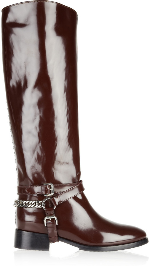 McQ Glossed-leather riding boots