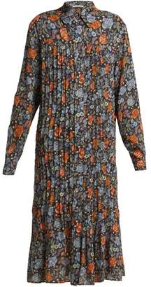 Acne Studios Floral Print Pleated Dress - Womens - Orange Multi