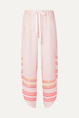 Lemlem Net Sustain Eskedar Fly Away Striped Cotton-blend Gauze Pants - Pink