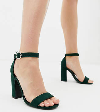 New Look barely there block heeled sandal in dark green