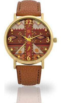 Unbranded Women's Camel Aztec Mirror Face Watch, Faux Band