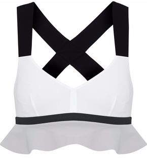 NO KA 'OI Ruffled Color-Block Stretch Sports Bra