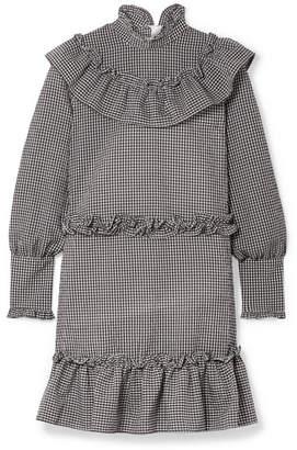 Ganni Charron Ruffle-trimmed Gingham Cotton-blend Seersucker Mini Dress