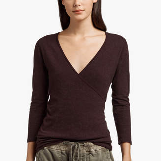 James Perse SUEDED JERSEY WRAP TOP