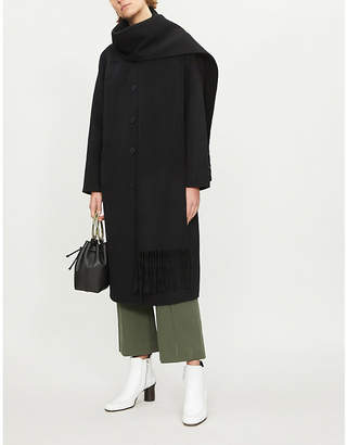 Sandro Fringed wool and cotton-blend coat