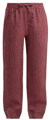 Acne Studios Maseline Sketch Striped Linen Blend Trousers - Womens - Red Stripe
