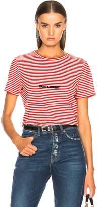 Saint Laurent Striped Small Logo Tee