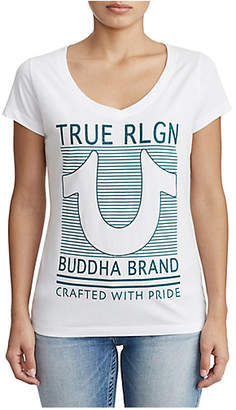 True Religion WOMENS CRYSTAL EMBELLISHED HORSESHOE GRAPHIC TEE