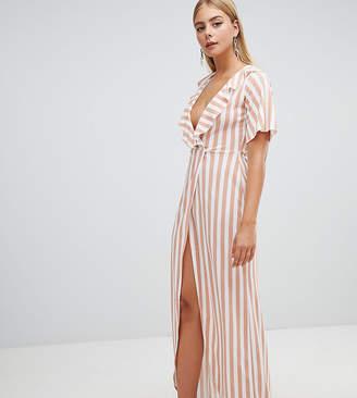 PrettyLittleThing Stripe Print Frill Detail Wrap Maxi Dress