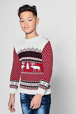 Mens Boys Reindeer Fairisle Christmas Jumper in Red size 9-10 Yrs