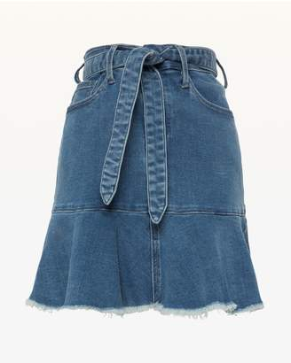 Juicy Couture JXJC Denim Tie Front Peplum Skirt