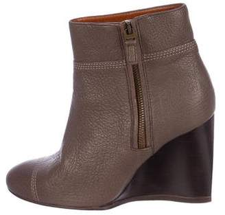 Lanvin Leather Zip-Up Wedge Booties