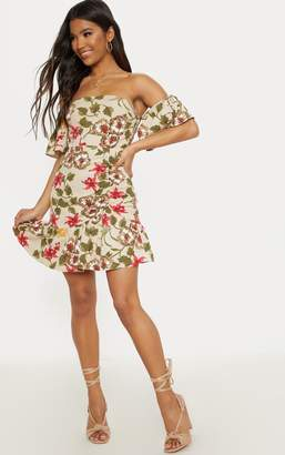 PrettyLittleThing Beige Floral Frill Detail Bodycon Dress