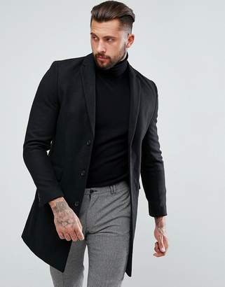 New Look Single Breasted Overcoat In Black