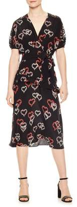 Sandro Floral Hearts Silk Dress