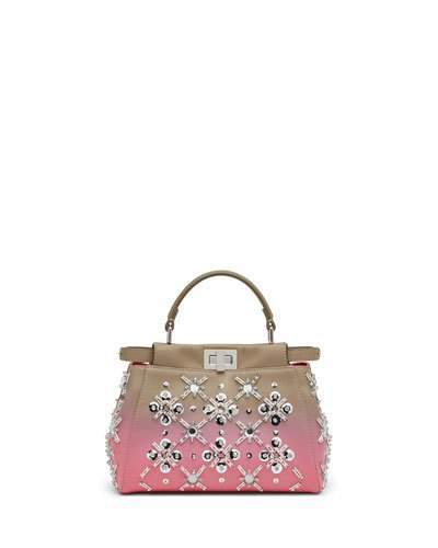 FendiFendi Peekaboo Mini Crystal Satchel Bag, Dove/Pink Ombre