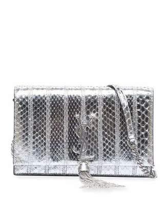 Saint Laurent Kate Tassel Metallic Python Wallet on Chain