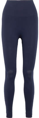 LNDR - Branded Perforated Stretch-knit Leggings - Navy