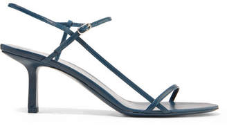 The Row Nude Leather Sandals - Navy
