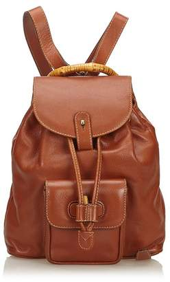 Gucci Vintage Bamboo Leather Drawstring Backpack