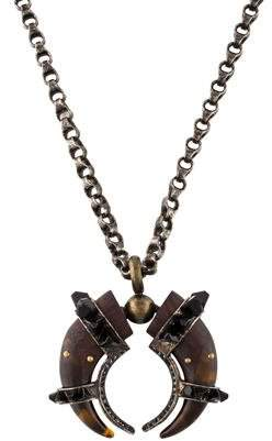 Lanvin Cornes Wooden & Crystal Pendant Necklace