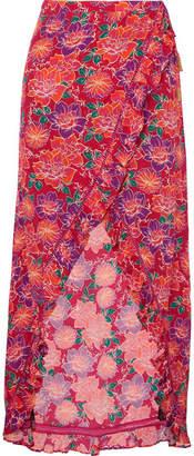 Paloma Blue Stevie Ruffled Floral-print Crepe De Chine Wrap Maxi Skirt
