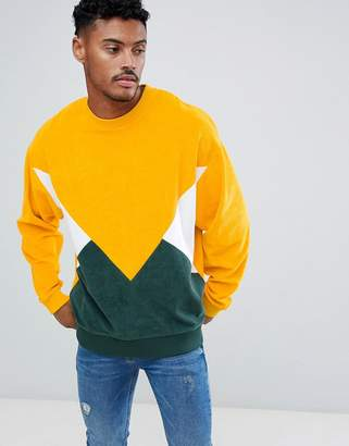 Asos Design DESIGN oversized sweatshirt in towelling with colour blocking