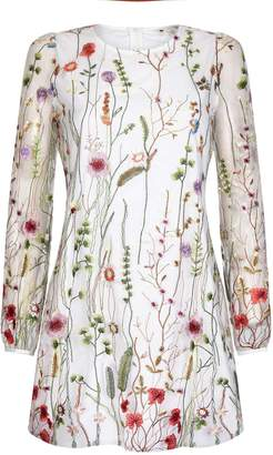 Yumi Curves Sheer Flower Embroidered Dress