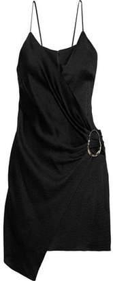 Cushnie Wrap-effect Hammered-satin Mini Slip Dress