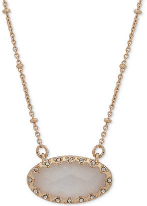 "lonna & lilly Gold-Tone Pave & Oval Stone Beaded Pendant Necklace, 16"" + 3"" extender, Created for Macy's"