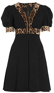 Dolce & Gabbana Women's Puff Sleeve Leopard Trim Dress
