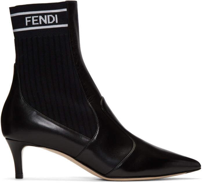 Fendi Black Logo Pointed Toe Boots
