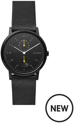 Black And Yellow Detail Dial Black Leather Strap Mens Watch