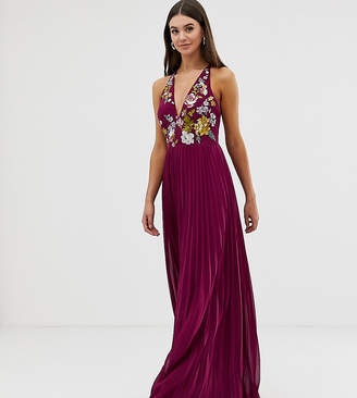 Asos Tall DESIGN Tall embroidered maxi dress with halter neck and pleated skirt